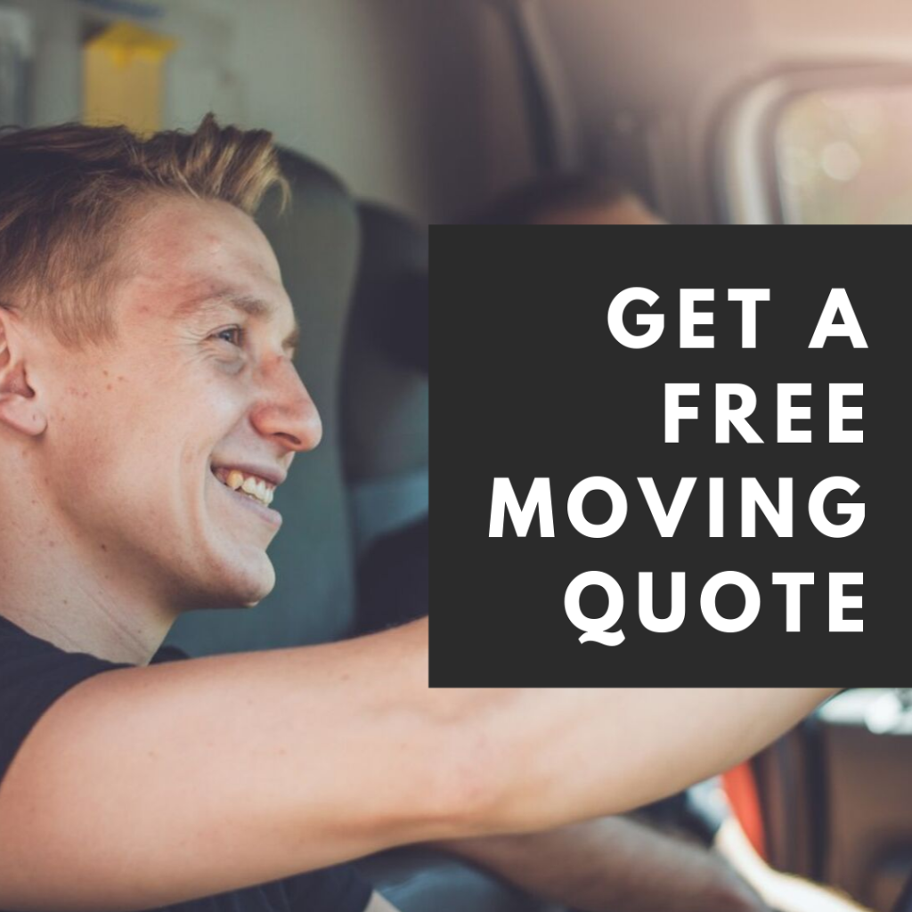 "Pictured: ""Get a free moving quote"" text with a moving company driver."